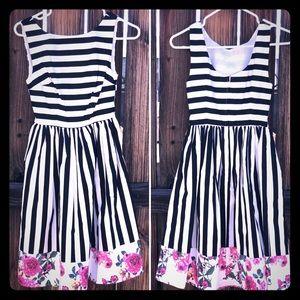 {ModCloth} Black White Stripe Retro Swing Dress